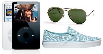 iPod, Ray-Ban, Vans Slip-On